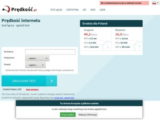 Predkosc.pl internetu speed test